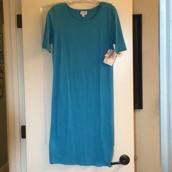 LuLaRoe NWT Solid Turquoise Julia Dress M